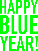 Happy Blue Year! Logo Heldergroen